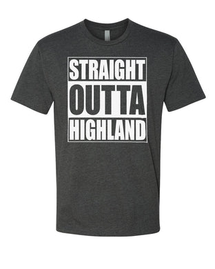 HIGHLAND HS – Next Level Fitted Crew Tee – Straight Outta Highland (White/Charcoal)