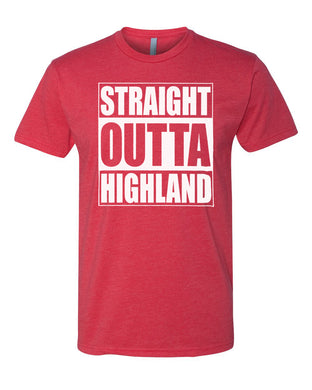HIGHLAND HS – Next Level Fitted Crew Tee – Straight Outta Highland (White/Red)
