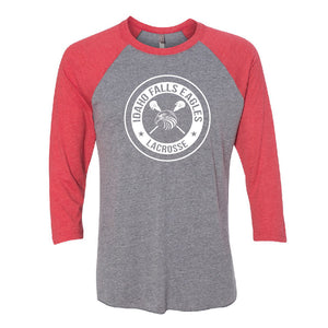 IF LAX – Unisex Tri-Blend 3/4 Sleeve Baseball Raglan Tee (Vintage Red/Grey)