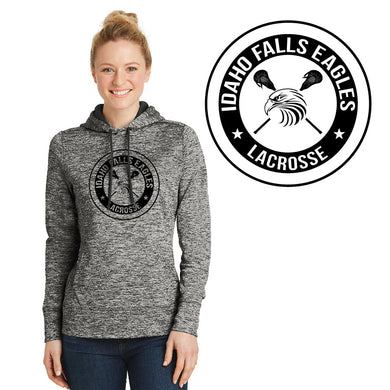 IF LAX – Ladies Moisture-Wicking Electric Heather Fleece Hooded Pullover (Electric Black)