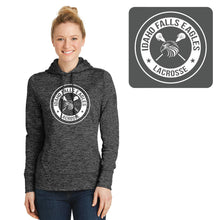 Load image into Gallery viewer, IF LAX – Ladies Moisture-Wicking Electric Heather Fleece Hooded Pullover (Grey-Black)