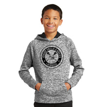 Load image into Gallery viewer, IF LAX – Youth Moisture-Wicking Electric Heather Fleece Hooded Pullover (Electric Black)