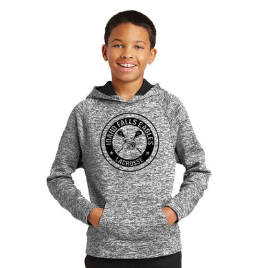 IF LAX – Youth Moisture-Wicking Electric Heather Fleece Hooded Pullover (Electric Black)