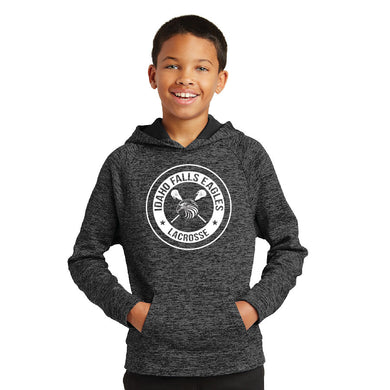 IF LAX – Youth Moisture-Wicking Electric Heather Fleece Hooded Pullover (Grey-Black)