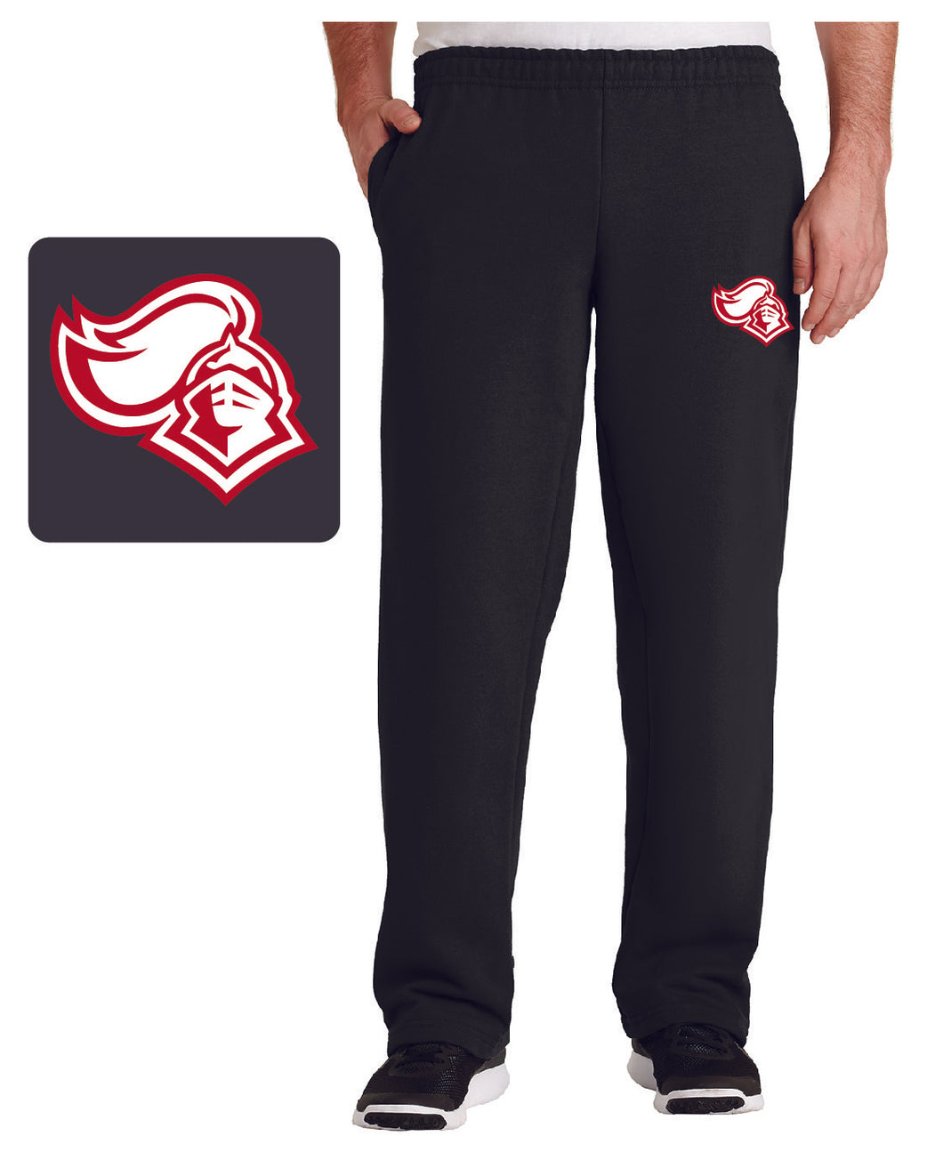 KNIGHTS Black Open Bottom Sweatpant