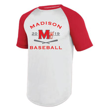 Load image into Gallery viewer, MADISON HS BASEBALL – Wicking Short Sleeve Baseball Jersey (White/Red)