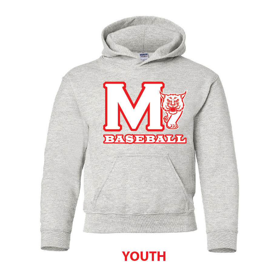 MADISON HS BASEBALL – Cotton Pullover Hooded Sweatshirt (Light Steel)
