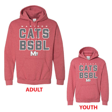 MADISON HS BASEBALL – Heavy Blend Hooded Sweatshirt (Heather Red)