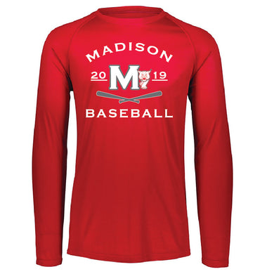 MADISON HS BASEBALL – Augusta Attain Wicking Long Sleeve Shirt (Red)