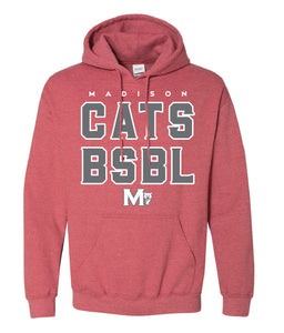 MADISON HS BASEBALL – Heavy Blend Hooded Sweatshirt (Heather Sport Red)