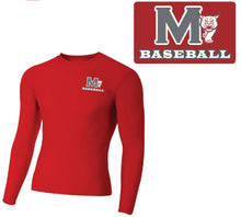 Load image into Gallery viewer, MADISON HS BASEBALL – Long Sleeve Compression Crew (Scarlet Red)