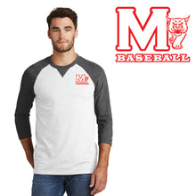 Load image into Gallery viewer, MADISON HS BASEBALL – Sueded Cotton Blend 3/4-Sleeve Baseball Raglan Tee (Black Heather/White)