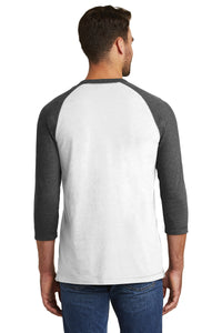 RIGBY HS BASEBALL – Sueded Cotton Blend 3/4-Sleeve Baseball Raglan Tee (Black Heather/White)