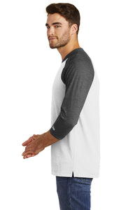 MADISON HS BASEBALL – Sueded Cotton Blend 3/4-Sleeve Baseball Raglan Tee (Black Heather/White)