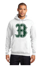 Load image into Gallery viewer, BONNEVILLE – Core Fleece Hooded Sweatshirt Distressed B in Green on White