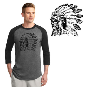 POCATELLO HS – Black Indian Head Colorblock Raglan Jersey (Black/Dark Heather Grey)