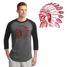 Load image into Gallery viewer, POCATELLO HS – Red Indian Head Colorblock Raglan Jersey (Black/Dark Heather Grey)