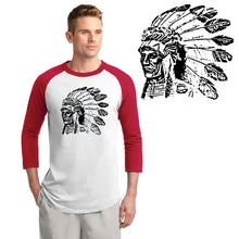 Load image into Gallery viewer, POCATELLO HS – Black Indian Head Colorblock Raglan Jersey (Red/White)