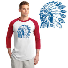 Load image into Gallery viewer, POCATELLO HS – Royal Blue Indian Head Colorblock Raglan Jersey (Red/White)