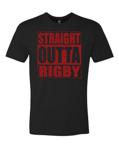 RIGBY HS – Next Level Fitted Crew Tee – Straight Outta Rigby (Maroon/Black)