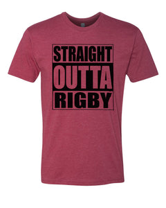 RIGBY HS – Next Level Fitted Crew Tee – Straight Outta Rigby (Black/Maroon)