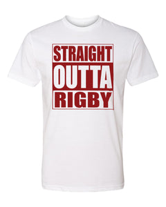 RIGBY HS – Next Level Fitted Crew Tee – Straight Outta Rigby (Maroon/White)