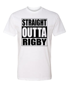 RIGBY HS – Next Level Fitted Crew Tee – Straight Outta Rigby (Black/White)