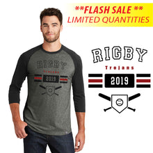 Load image into Gallery viewer, RIGBY HS BASEBLL – **FLASH SALE** Crossed Bats 3/4-Sleeve Baseball Raglan Tee (Black/Black Twist)