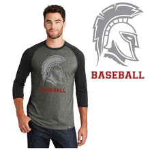 Load image into Gallery viewer, RIGBY HS BASEBLL – Trojan Head Cotton-Poly Blend 3/4-Sleeve Baseball Raglan Tee (Black/Black Twist)
