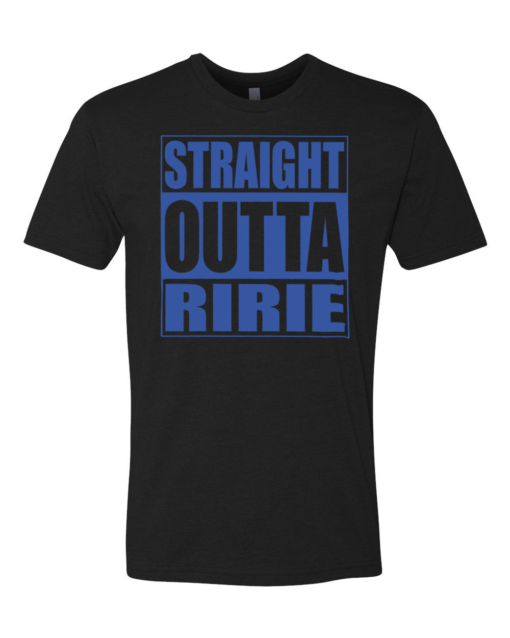 RIRIE HS – Next Level Fitted Crew Tee – Straight Outta Ririe (Royal/Black)