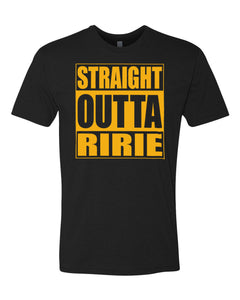RIRIE HS – Next Level Fitted Crew Tee – Straight Outta Ririe (Gold/Black)