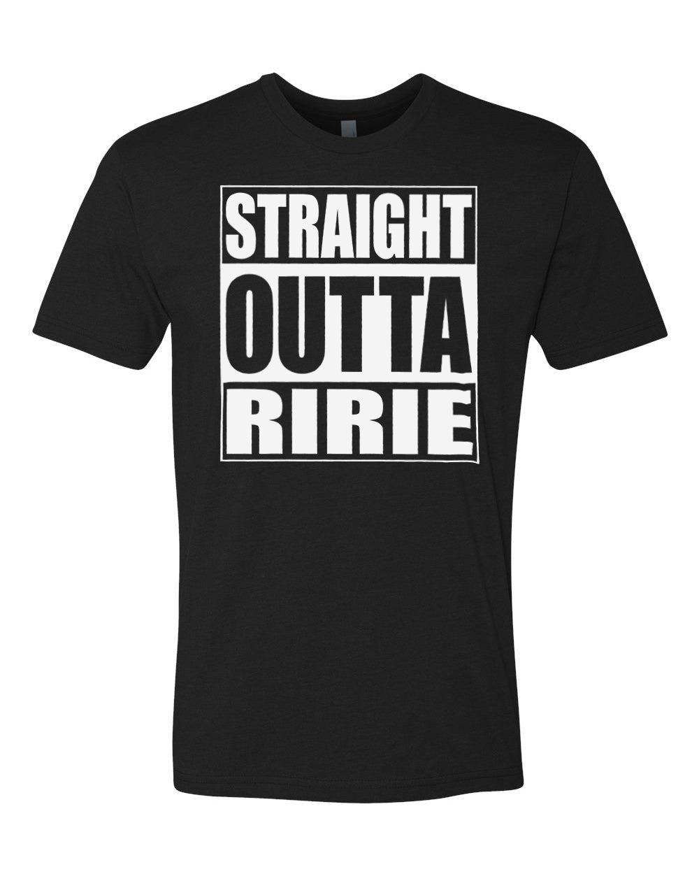 RIRIE HS – Next Level Fitted Crew Tee – Straight Outta Ririe (White/Black)