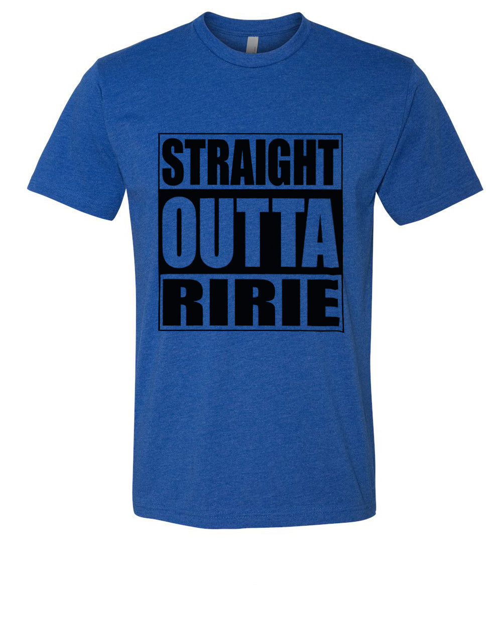 RIRIE HS – Next Level Fitted Crew Tee – Straight Outta Ririe (Black/Royal)