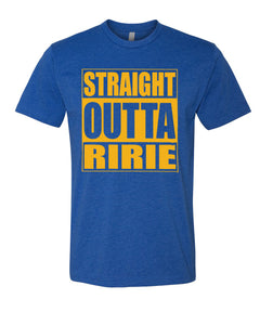 RIRIE HS – Next Level Fitted Crew Tee – Straight Outta Ririe (Gold/Royal)