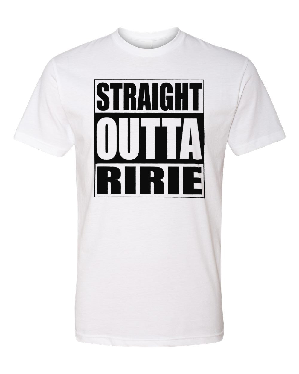 RIRIE HS – Next Level Fitted Crew Tee – Straight Outta Ririe (Black/White)