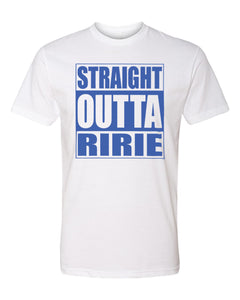 RIRIE HS – Next Level Fitted Crew Tee – Straight Outta Ririe (Royal/White)