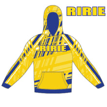 Load image into Gallery viewer, RIRIE WRESTLING – **SPECIAL ORDER**Patterned Hooded Sweatshirt (Yellow/Royal Blue)