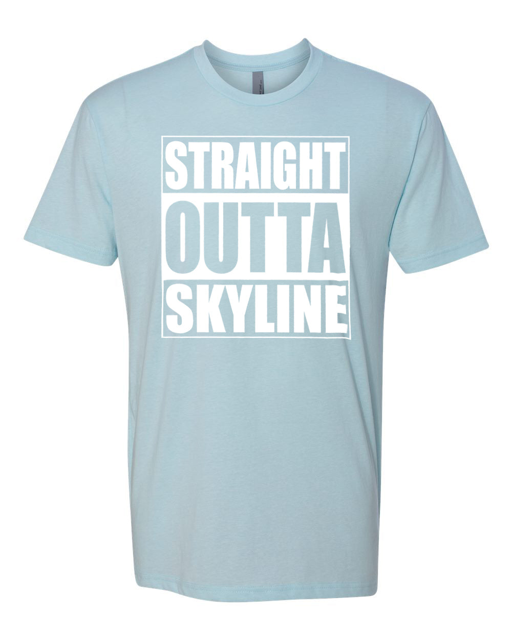 SKYLINE HS – Next Level Fitted Crew Tee – Straight Outta Skyline (White/LtBlue)