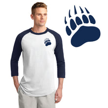 Load image into Gallery viewer, SKYLINE HS – Navy Small Paw Colorblock Raglan Jersey (White/Navy)