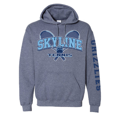 SKYLINE HS TENNIS – Heavy Blend Hooded Sweatshirt (Heather Navy)
