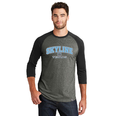 SKYLINE HS TENNIS – Cotton-Poly Blend 3/4-Sleeve Baseball Raglan Tee (Black/Black Twist)