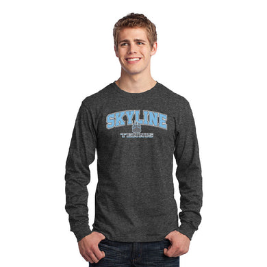 SKYLINE HS TENNIS – Long Sleeve Core Cotton Tee (Dark Heather Grey)