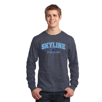 SKYLINE HS TENNIS – Long Sleeve Core Cotton Tee (Heather Navy)