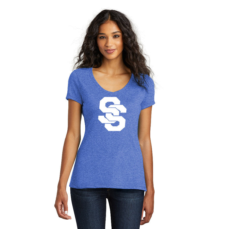 SUGAR-SALEM HS BASEBALL – Women's Perfect Tri V-Neck Tee (Royal Frost)