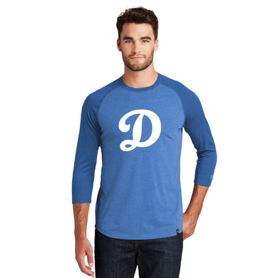 SUGAR-SALEM HS BASEBALL – Cotton-Poly Blend 3/4-Sleeve Baseball Raglan Tee (Royal/Heather Royal)