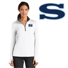 Load image into Gallery viewer, SKYLINE HS BASEBALL – Nike Ladies Dri-FIT Stretch 1/2-Zip Cover-Up (White/Dark Grey)