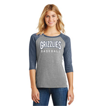 Load image into Gallery viewer, SKYLINE HS BASEBALL – Women's Perfect Tri 3/4-Sleeve Raglan Tee (Navy Frost/Grey Frost)