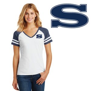 SKYLINE HS BASEBALL – Women's Game V-Neck Tee (White/Heathered True Navy)