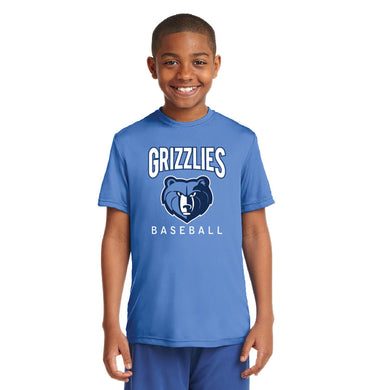 SKYLINE HS YOUTH WEAR  – Youth Moisture-Wicking Tee with Grizzlies Bear (Carolina Blue)