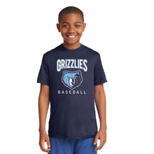 Load image into Gallery viewer, SKYLINE HS YOUTH WEAR  – Youth Moisture-Wicking Tee with Grizzlies Bear (Navy)